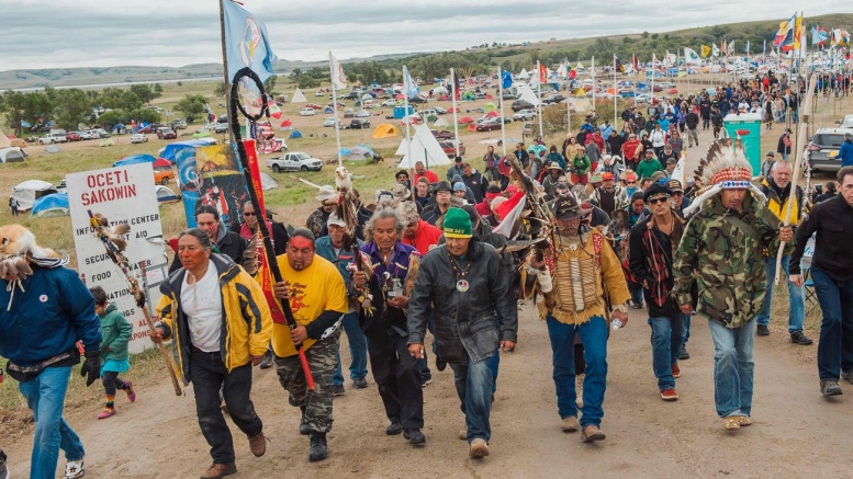Protesters demonstrate against the Dakota crude oil access pipeline near the Standing Rock Sioux reservation in Cannon Ball, North Dakota. Photograph: Andrew Cullen/Reuters