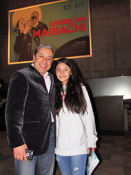 "James Mejía with daughter Moya. ""American Mariachi brought to the stage a unique view into Mexican and Mexican American culture that we don't often get to see. A beautiful story line honoring our community's matriarchs and the next generation of powerful Latinas, the play had me alternating between laughter and wiping away tears. The outstanding cast seemed to celebrate on stage with music and song. This is a must see!"""