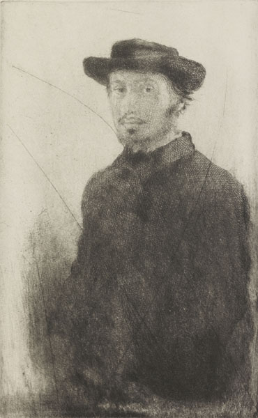 Autoportrait. Degas, Edgar (French, 1834-1917). Etching, drypoint. Black carbon ink on paper, height, plate, 229 mm, width, plate, 143 mm; height, sheet, 327 mm, width, sheet, 250 mm, 1857. Production Note: Impression from a cancelled plate.