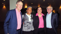 "Colorado Governor John Hickenlooper, (left)  next to Allegra ""Happy"" Haynes, Denver Parks and Recreation Executive Director,    Gabriela Chavarria, new Vice President for the Denver Museum of Nature & Science and   George Sparks President and CEO Board Director for the museum (right)"