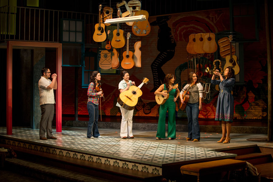 "The ladies try their hand at mariachi music at the music shop of ""Lucha's"" uncle, ""Mino"" played by Rodney Lizcano. None of the women had ever played a musical instrument prior to this production."