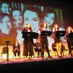 """Student performers  with a reading of Helen Thorpes book """"Just Like Us"""". Theatrical production by Karen Zacarias"""
