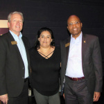 Dwight D. Clasby (left) with  Jessica P. Lanfranco (center)  Office of Student Development and Retention with CCD President Everette J. Freeman at the opening VIP reception