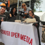 The crew from Denver Open Media with Station Manager Ann Theis (sunglasses) provided hours of live broadcasting on Comcast TV