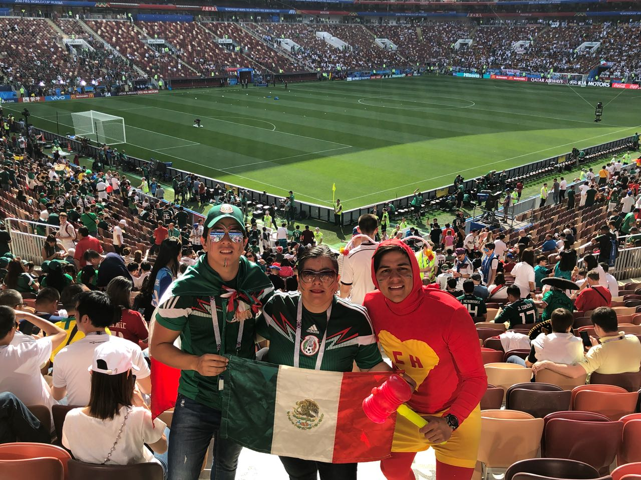 Maru Moreno (center) celebrates Mexico's 1-0 victory over Germany at 2018 World Cup Photo Latin Life Denver Media