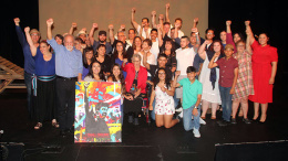 "The Gonzales family & Su Teatro cast members celebrate the special performance of ""The Revolutionist"" on what would have been the 90th birthday of the playwright and the family's patriarch  Rodolfo ""Corky"" Gonzales"