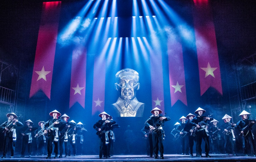 "The Company of the North American Tour of MISS SAIGON performs ""Morning of the Dragon'. Photo: Matthew Murphy"