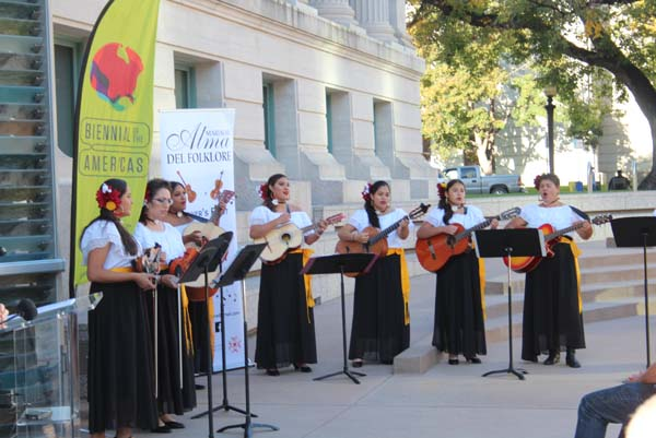 Mariachi Alma del Folklore, an all female mariachi group kicked off the official opening of the 2019 Binennial of the Americas. Photo by Latin Life Denver Media
