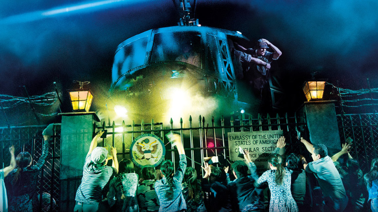 The helicopter lands in 'The Nightmare' in 'Miss Saigon.' Photo by Matthew Murphy and Johan Persson.
