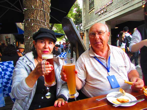 Dave of Green Bay, Wisconsin and Maria from Colorado share a toast while having lunch in the French Quarter/Shanghi