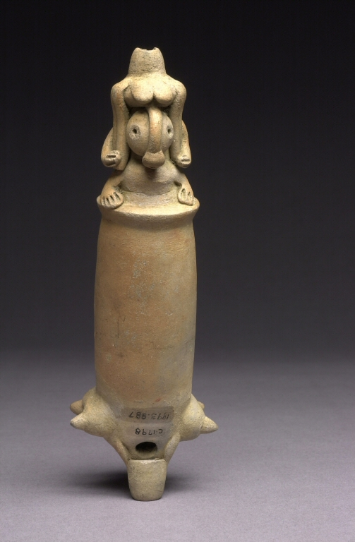 Tubular Whistle with Modeled Creature. Denver Art Museum: Gift of Frederick and Jan Mayer, 1993.887 by Unknown Costa Rican Artist (Atlantic Waterhsed).