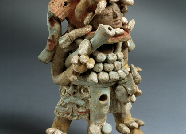 Jaguar-costumed Figure with Blowgun. Denver Art Museum: Gift of Mr. and Mrs. Edward M. Strauss, 1984.521 by Unknown Maya Artist.