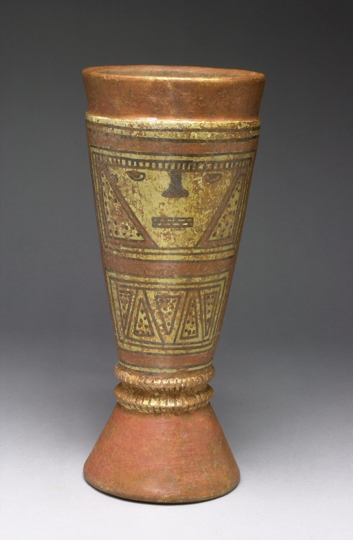 Drum with Painted Geometric and Facial Imagery. Denver Art Museum: Gift of Frederick and Jan Mayer, 1995.394 by Unknown Greater Chiriqui Artist.