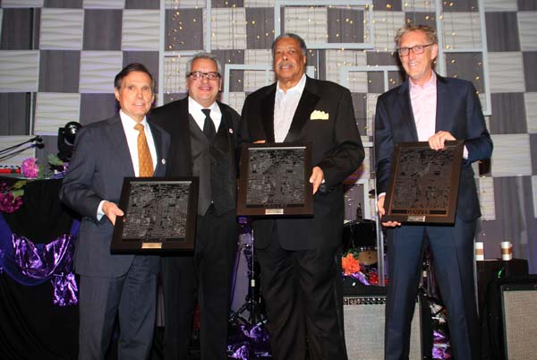 From L to R, Former Denver Mayor Federico Pena, DHA Executive Director Ismael Guerrero, Former Denver Mayor Wellington E. Webb and a representative for Governor and former Denver Mayor John Hickenlooper. Photo from 2015 DHA Gala. Photo by Latin Life Denver Media. For more photos and article visit: https://www.latinlifedenver.com/networking/80th-anniversary-gala-denver-housing-authority-growing-stronger-stronger/