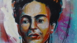 Frida Kahlo live painting by Armando Silva, Painted live at Museo de las Americas, 2018