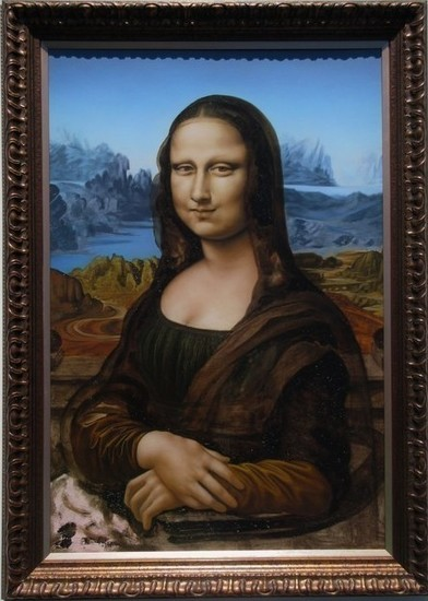 Mona Lisa by Adrian Raya Oil and Bullshit on Plywood
