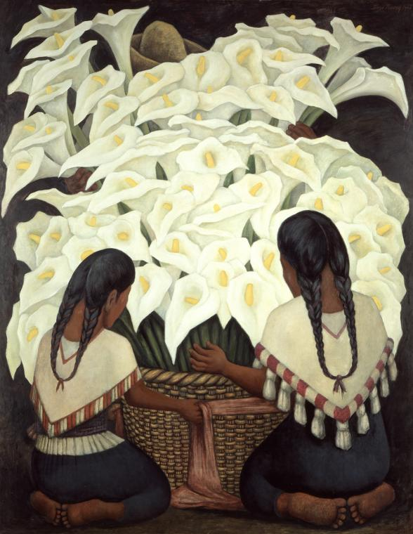 Diego Rivera, Calla Lilly Vendor, 1943. Oil on Masonite; 59.1 x 47.2 in. (150 x 120 cm). The Vergel Foundation and MondoMostre in collaboration with the Instituto Nacional de Bellas Artes y Literatura (INBAL). © 2020 Banco de Mexico Diego Rivera Frida Kahlo Museums Trust, Mexico, D.F./ Artists Rights Society (ARS), New York. Photo by Gerardo Suter