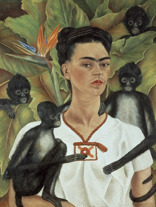 Frida Kahlo, Self-Portrait with Monkeys, 1943, Oil on canvas. The Vergel Foundation and MondoMostre in collaboration with the Instituto Nacional de Bellas Artes y Literatura (INBAL). © 2020 Banco de México Diego Rivera Frida Kahlo Museums Trust, Mexico, D.F. / Artists Rights Society (ARS), New York. Photo by Gerardo Suter.