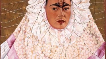 Frida Kahlo, Diego on my Mind, 1943. Oil on Masonite; 29.9 x 24 in. (76 x 61 cm). The Vergel Foundation and MondoMostre in collaboration with the Instituto Nacional de Bellas Artes y Literatura (INBAL). © 2020 Banco de Mexico Diego Rivera Frida Kahlo Museums Trust, Mexico, D.F./ Artists Rights Society (ARS), New York. Photo by Gerardo Suter.