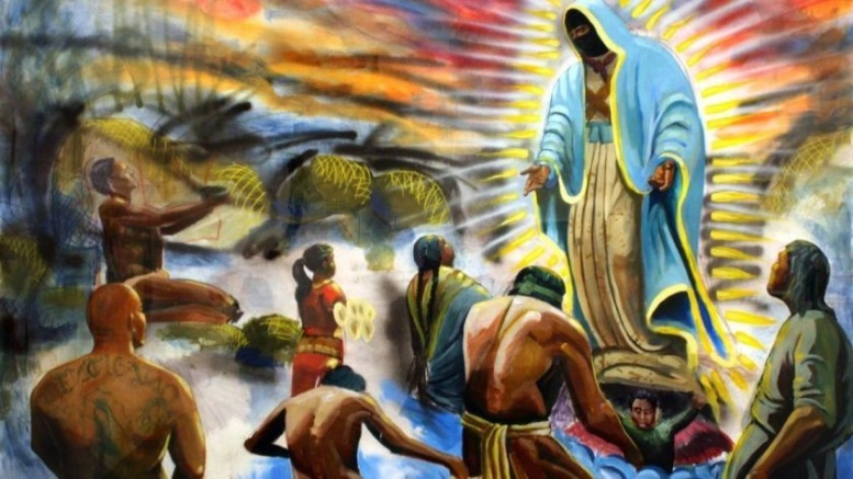 """""""If La Virgen Returned,"""" a 2009 spray paint and acrylic on paper by Pablo Andrés Cristi. On view at Muzeo through July 14 as a part of """"Papel Chicano Dos,"""" a exhibition of Cheech Marin's art collection.(Image courtesy of Muzeo)"""