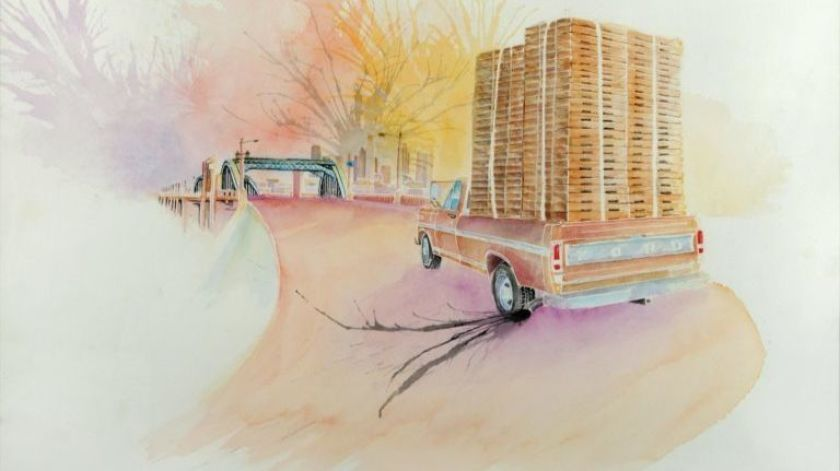 """""""Pallet Pickup on 6th Street Bridge,"""" a 2013 watercolor and ink on paper by Wenceslao Quiroz. On view at Muzeo through July 14 as a part of """"Papel Chicano Dos,"""" a exhibition of Cheech Marin's art collection.(Image courtesy of Muzeo)"""